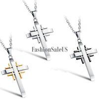 Stainless Steel Multi Cross Pendant Men's Women's Unisex Retro Necklace Chain