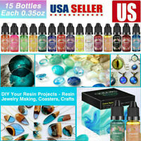 15Pcs/set Colorful DIY Pigment Epoxy Resin Glitter DIY Art  Resin Ink Paint Dye