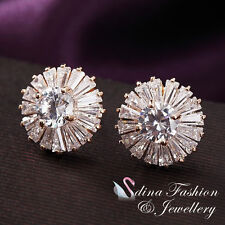 18K Rose Gold Plated Simulated Diamond Luxury Cluster Round Halo Stud Earrings