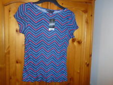 Blue and red pattern cap sleeve stretchy top, DOROTHY PERKINS 12, NEW w TAG BNWT