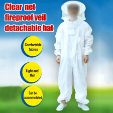 L-XXL White Protective Beekeeping Jumpsuits Bee Suit Smock Equipment Veil Cap YR