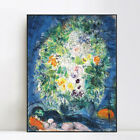 "Framed Canvas Giclee Print Art Flower#4 by Marc Chagall Wall Art 20""x24"""