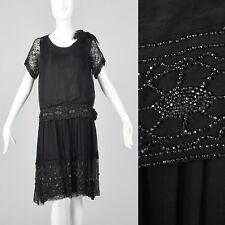 b28fca090cef7 XXS 1920s Black Silk Chiffon Dress Steel Beads Drop Waist Art Deco Flapper  20s