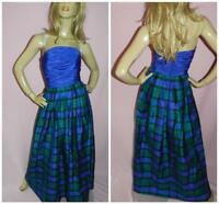 VINTAGE 80s BLUE GREEN STRAPLESS TARTAN SILK MAXI PROM DRESS PRINCESS 6 XS 1980s