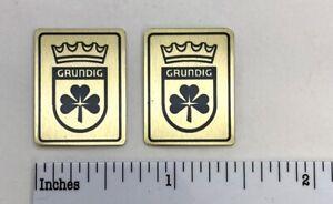 Grundig Speaker or Radio Badge Logo Custom Made Aluminum PAIR Free Shipping