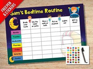 Personalised Bedtime Nightime Routine Reward Chart - Kids Childrens Sticker Star