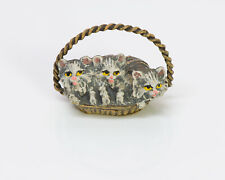 Antique Enamel Bronze Miniature Basket Cat Kittens