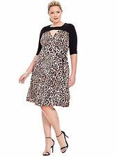 Kiyonna Plus Size Party Dress Size 5X  Animal Print Wishful Wrap Style True Wrap