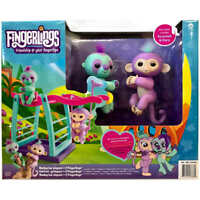 WowWee Monkey Bar with 2 Fingerlings Exclusive Playset, Savannah & Clara, NEW!