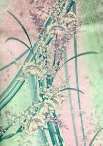 Vintage Japanese SILK Kimono FURISODE Fabric Panel  #F3