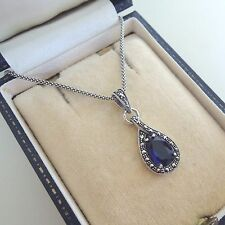 Sterling Silver Sapphire Marcasite Pendant Necklace