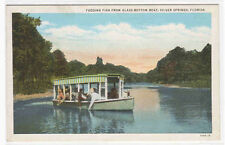 Glass Bottom Boat Feeding Fish Silver Springs Florida linen postcard