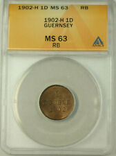 1902-H Guernsey Bronze 1 Double Coin ANACS MS 63 Red Brown