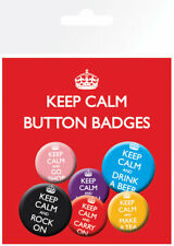 KEEP CALM MIX CARRY ON 6 PACK OF BADGES NEW 100% OFFICIAL MERCHANDISE