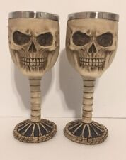 "Lot - 2 New Skull Wine Goblet Chalice Beverage Novelty Decor 7.25"" Steel/Resin"