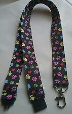 Multi Coloured Dog Paw Print Black ribbon lanyard safety clip ID badge holder