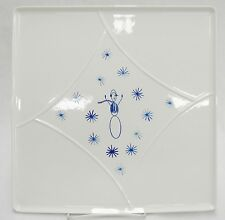 Villeroy Boch White Blue Snowman Holiday Christmas Platter Just for YOU Square