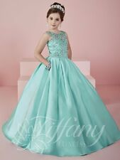Tiffany Princess 13472 Mint Colored Girls Pageant Gown Dress sz 14