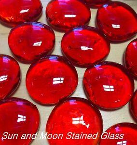 LG ORANGE RED Glass Gems, Nuggets, Pebbles, Mosaic Tiles