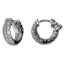 PAVE INSIDEOUT CLEAR CZ HOOP HUGGIE  EARRING 15MM-CHILDREN-BABIES-BRIDAL