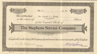 The Stephens Service Company > 1930 stock certificate share