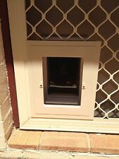 Security Screen PET DOOR - For DOGS up to 10kg & all CATS - CREAM/BEIGE VERSION