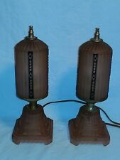Pair of Vintage Boudoir / Desk Lamps, Pink Satin Glass, Art Deco