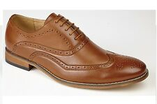 Mens Brogue Black Brown Leather Lined Smart Office Lace Up  Casual Smart Shoes
