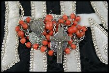 † c.1900 IMMACULATE CONCEPTION STERLING & CORAL NECKLACE VIRGIN MARY ROSARY †