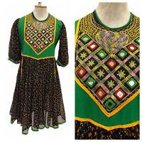 Vintage VTG 1970s 70s Boho Green Mirror Inlay Patterned Dress