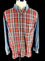 On The Brink Mens Vtg Button Front Shirt Sz XL Jean Plaid Denim Long Sleeve 80's