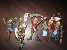 """Roman SET Of 5 Ye Olde English ELVES Christmas Ornaments up to 5 1/2"""" NEW In Box"""