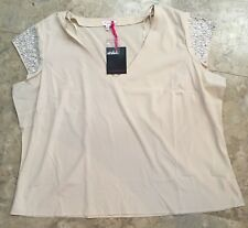 Simply Be Womens Sequin Cap Sleeve Blouse Ecru 26 NWT