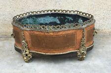 ancienne jardiniere napoleon III placage marqueterie / bronze