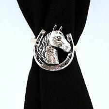 Horseshoe with Horse Scarf Ring, English Pewter, Handmade in Great Britain, ab