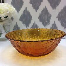 Vintage Amber Carnival Glass Basket Weave Serving Bowl