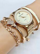 ORIGINAL ANNE KLEIN Watch Set AK/3382IVST Rose Gold Tone 30mm