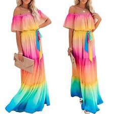 Women Gradient Belted Ruffle Off Shoulder Long Maxi Dress Casual Loose Dresses