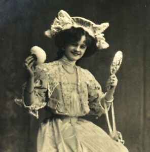 Miss Gertie Millar RPPC postcard antique portrait silver hand mirror powder puff