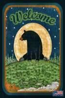 *WELCOME* METAL SIGN 8X12 RUSTIC LOG CABIN DECOR BEAR PINE CONE LODGE SKI CHALET
