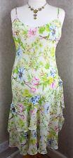 Per Una ~ UK18 ~ pale yellow floral print, sheer, strappy, bias cut summer dress