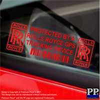 5 x RED- Rolls Royce GPS Tracking Device Security Stickers-Car Alarm Tracker