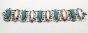 "Vintage Mexico Green Onyx Repousse Sterling Silver 7 1/4"" Filigree Link Bracelet"