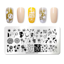 NICOLE DIARY Rectangle Stamping Plates Dandelion Image Nail Art Template 079