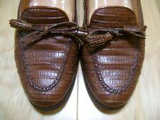 Women's Loafers Ralph Lauren Polo Sz 7 B Brown Lizard Skin, Made in Italy!