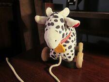 Eden vintage Osh Kosh B'Gosh pull string plush cow with wooden wheels (RARE)