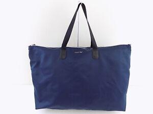 CALVIN KLEIN TATIANA Blue ZIP TOP NYLON PACKABLE Tote Handbag