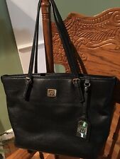 Anne Klein Black Pebbled Faux Leather Purse Tote Double Strap Bucket Style