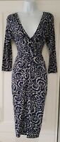 Womens Phase Eight Blue Grey Stretch Jersey Ruched Plunge Neck Knot Dress 8.