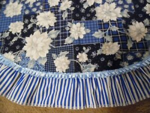 White poinsettia with Blue background  Christmas tree skirts 49 inches Handmade